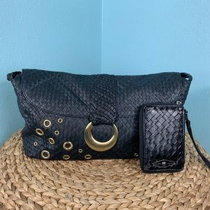 Elliott Lucca Black Woven Leather Purse Bag